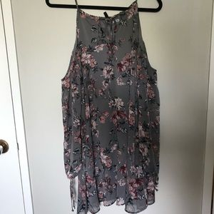 Grey floral dress with sheer sleeves